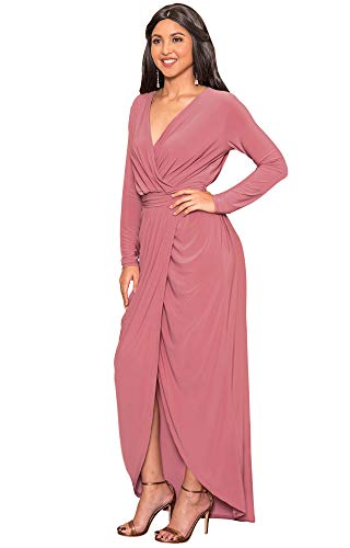 KOH KOH Plus Size Womens Long Sleeve Full Length V-Neck Sexy Wrap Empire Waist Formal Winter Fall Cocktail Wedding Evening Gown Gowns Maxi Dress Dresses, Cinnamon Rose Pink 2XL 18-20 (Apparel)