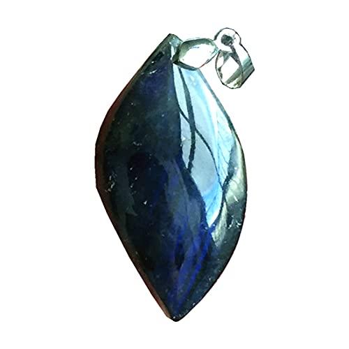 Colgante de labradorita natural, joyería de cuentas de cristal de labradorita para mujeres y hombres, 39 x 20 x 11 mm, piedra de luna de plata amarilla y azul claro AAAAA