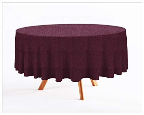 Rollmayer abwaschbar Tischdecke Wasserabweisend/Lotuseffekt (Melange Pflaume 215, Oval 140x180cm) Leinenoptik Tischtuch mit pflegeleicht Fleckschutz, Oval, Farbe & Größe wählbar