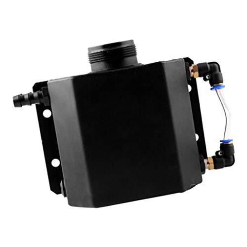 H HILABEE Tanque de Agua de Recuperación de Botella de Desbordamiento de Refrigerante de Radiador de Aluminio de 1 Litro Negro