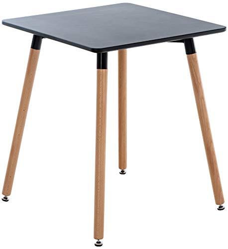 CLP Küchentisch VIBORG I Esstisch Mit MDF Tischplatte I Bistrotisch Mit Buchenholzgestell, Farbe:schwarz, Größe:60 cm