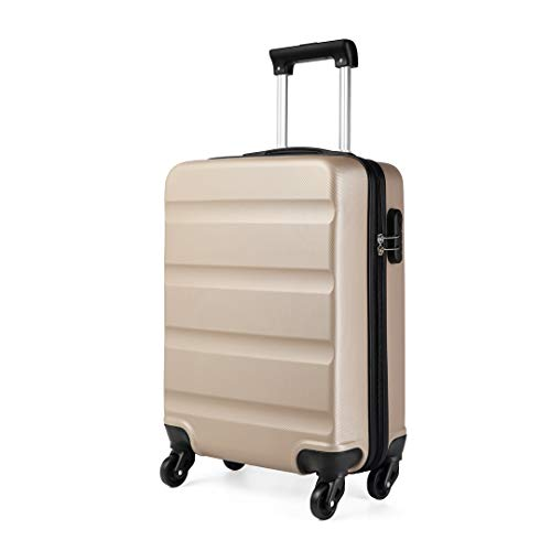 Kono Cabin Luggage Hard Shell ABS Carry-on Suitcase with 4 Spinner Wheels and Dial Combination Lock(Gold)