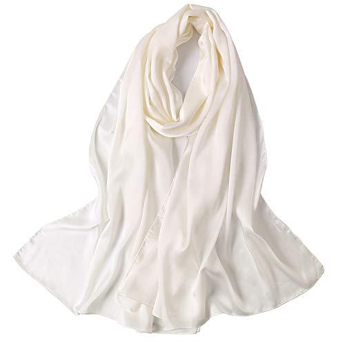 KAVINGKALY Longue Foulard En Satin De Soie Foulard Châle Mode Élégant Mince Léger Lisse Brillant Tissu Premium Ombre Surdimensionné Doux Confortable Blanc (Blanc)