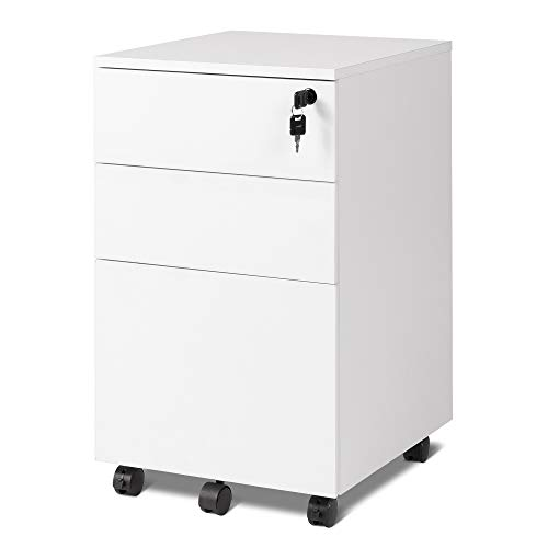 DEVAISE 3 Drawer Rolling File Cabinet with Lock, Wood Under Desk Filing Cabinet fits Letter/Legal/A4 Size for Home Office, White