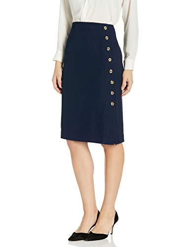 Tahari ASL Women's Petite Pencil Skirt with Side Seam Button Detail, Navy, 4P
