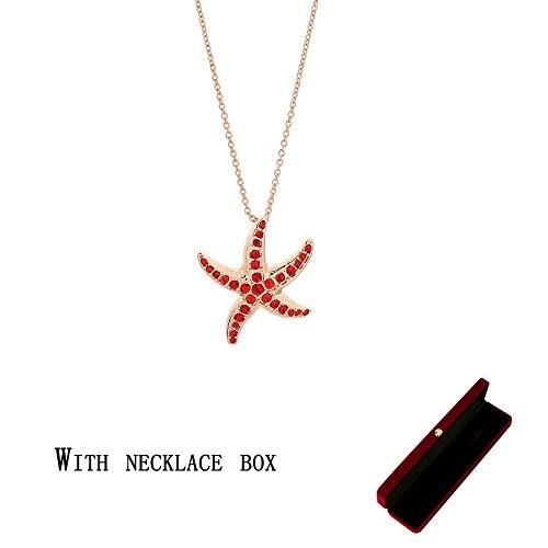 AMTBBK Starfish hanger, hangerketting, strandvakantie stijl ketting, ingelegd kristal diamant, met ketting doos, kerst Thanksgiving cadeau