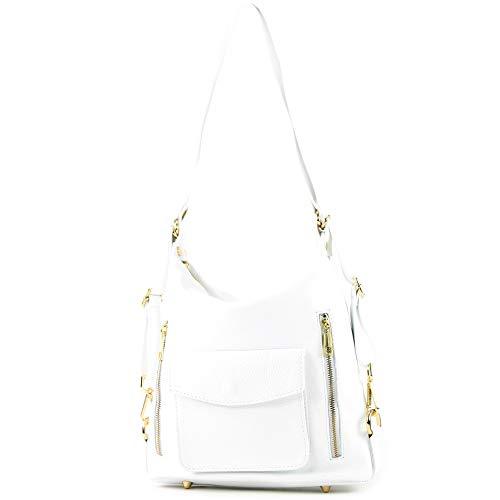 modamoda de - T174 - ital Damen Rucksack Tasche 2in1 aus Leder, Farbe:Weiß