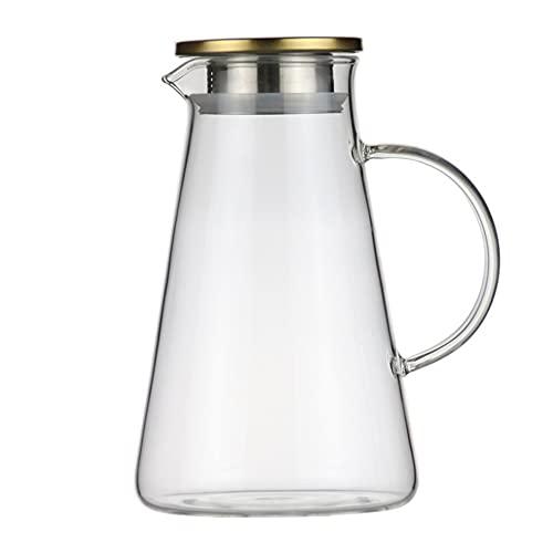 Jarras para Agua Jugo Caldera Resistente al Calor Vidrio Transparente Agua Jarra Creative Beverage Jarra de té para Jugo,Bebida,Leche (Color : Clear, Size : 1.9L)