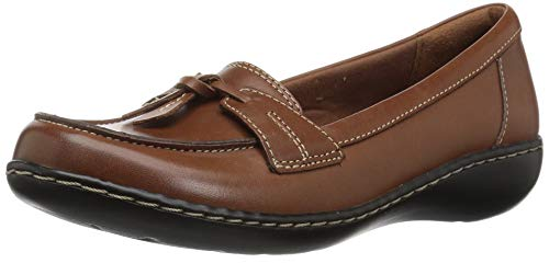 Clarks Women's Ashland Bubble Slip-On Loafer, Tan Leather, 8.5 M US