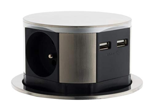 Bloc multiprise encastrable compact 3 prises 16A 2P+T & 2x USB - Finition Inox - Otio