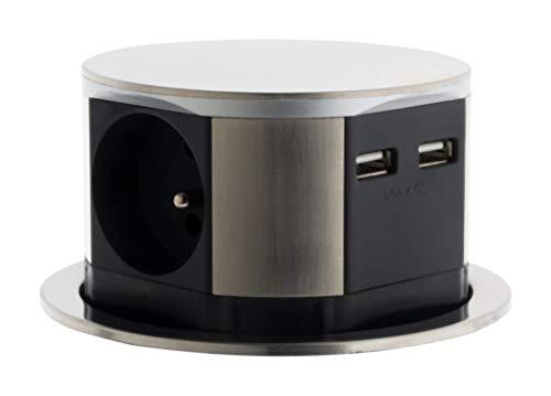 Otio–Bloque Escamoteables Compact 16A 3Enchufe 2P + T + 2x USB–acabado en acero inoxidable