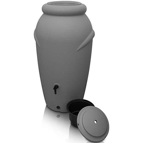 YourCasa Regentonne 210 Liter [Amphore Design] Regenfass Frostsicher aus Kunststoff - Regenwassertonne mit Wasserhahn - Regenwassertank Garten (Grau)