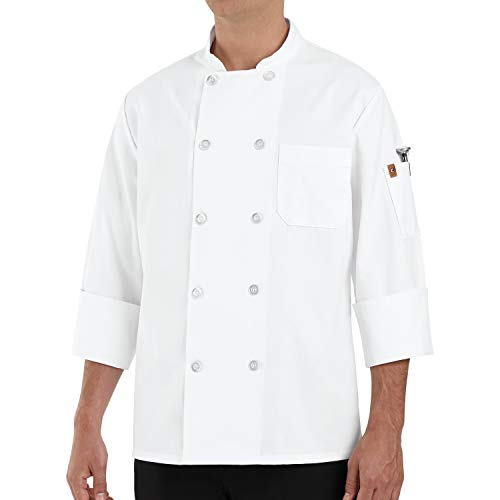 Chef Designs Men's Rk Ten Pearl Button Chef Coat, White, Large