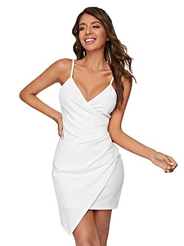 Verdusa Women's Sexy Ruched Side Asymmetrical V Neck Bodycon Cami Dress White Plain M