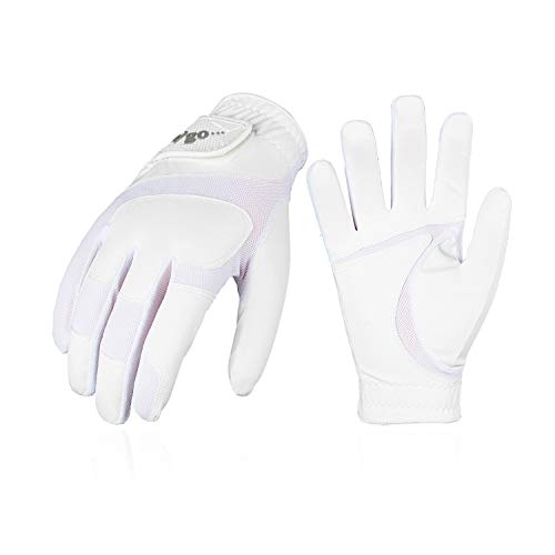 Vgo... Golfhandschuhe für Kinder von 4-5 J.A,PU-Palmen, weich und atmungsaktiv(1 Paar, Kid-XS, Weiß, MF7991)