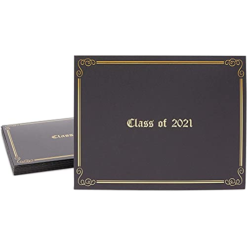 Class of 2021 Diploma Holders, Black Letter Size Certificate Covers (12 Pack)
