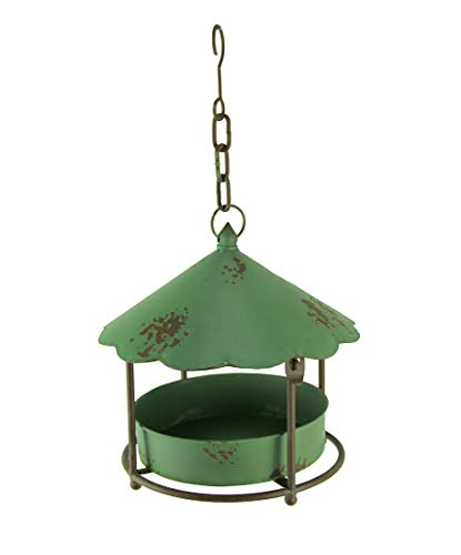 Things2Die4 Vintage Green Round Metal Hanging Covered Tray Bird Feeder