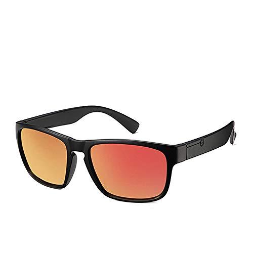 ZKYXZG Sonnenbrillen Polarisierte Sonnenbrille für Männer Kunststoff Oculos de Sol Herrenmode Square DrivingEyewear TravelSonnenglas, C6 Mattrot