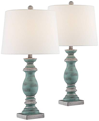 Patsy Country Cottage Table Lamps Set of 2 Blue Gray Washed...