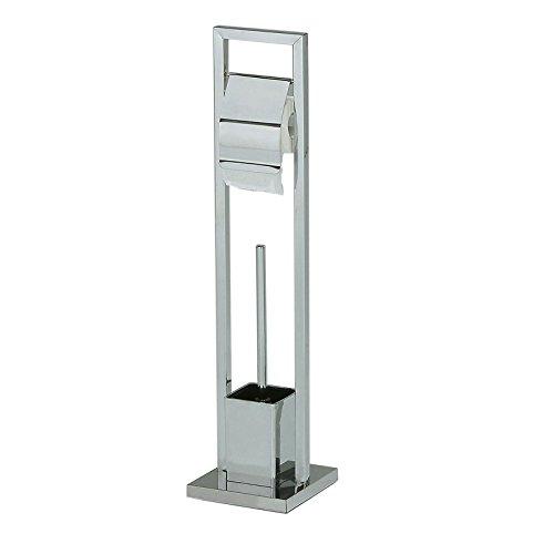 IDIMEX WC Garnitur TOMA Toilettenpapierhalter und Bürste freistehend, Klorollenhalter mit Toilettenbürste aus Metall verchromt