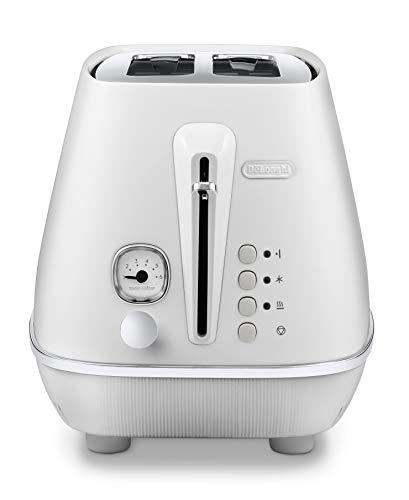 De'Longhi Toaster Distinta Moments CTIN2103.W - 2-Schlitz-Toaster mit Brötchenaufsatz, Edelstahl in stilvollem Matt-Metallic Finish mit Chrom-Details, weiß