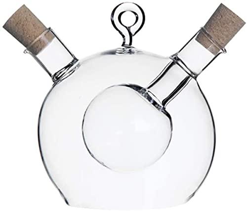 Oliedispenser Azijn Oliekaraf Flessendispenser Gemaakt Van Glas Creatief Ontwerp Met Dubbele Bal, Houdt Twee Soorten Vloeibare Kruiden Tegelijkertijd Vast.