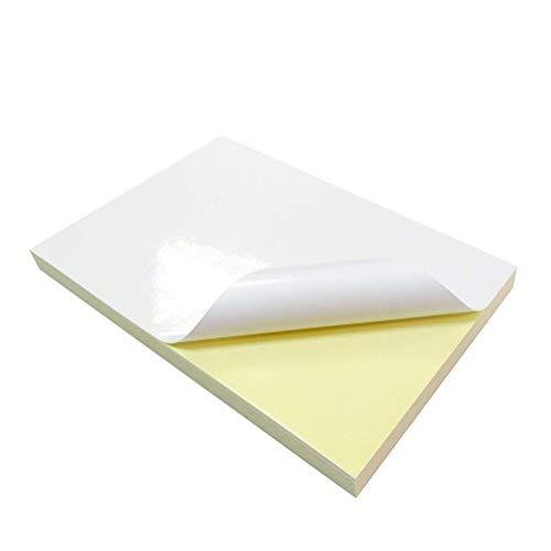 Fogli di Carta Lucida,20 Fogli Adesivi Carta in Vinile A4 PVC Bianco Lucido Carta per Stampa di Etichette Autoadesivo Opache Stampabili Carta per Forniture per Ufficio