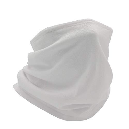 Adjustable Face Cover Neck Gaiter Scarf Bandana soft Cotton Reusable Breath Freely (Mens White)