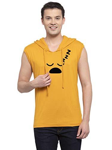 Friskers Men Gold Sleepy Sleeveless Round Neck Cotton Hooded T-Shirt