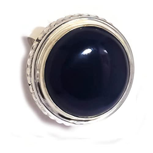 Anillo de piedra negra con cabujón de ónice negro de Argelia, chapado en plata, hecho a mano, piedra negra, US-6