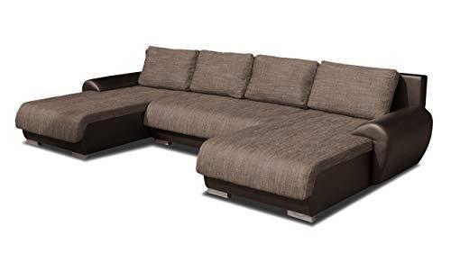 Wohnlandschaft Eckcouch Ecksofa Otis - Big Sofa, Couch mit Schlaffunktion und Bettkasten, U-Sofa, U-Form (Braun + Beige (Madryt 128 + Berlin 03))