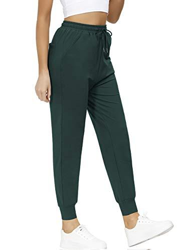 Yookeor Jogginghose Damen Baumwoll High Waist Sporthose Slim Fit Freizeithose Trainingshose Sweathose mit Taschen