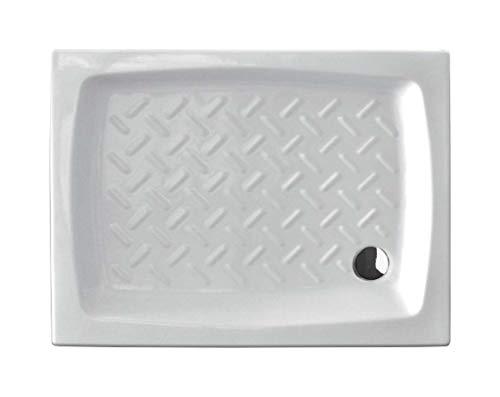 Douchebak 90 x 72 cm, rechthoekig, keramiek, wit geëmailleerd, antislip, design