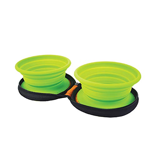 Grand Fusion Housewares Double Silicone Pet Bowl Set with Carry Case -...