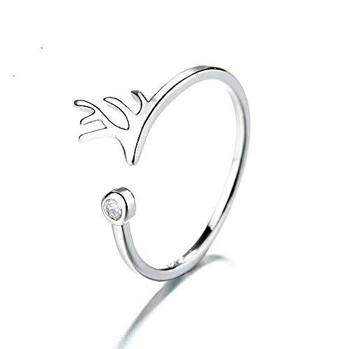 PRAK Damen 925 Sterling Silber Luxus Ringe,Sommer Cute Hirschgeweihe Offenen Ring Für Frauen Charme Mädchen Zubehör Geburtstag Weihnachten Geschenk Schmuck Abendkleid Sekt