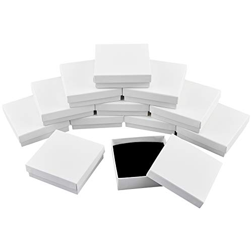 nbeads 12 Pcs Boîte en Carton, 9.1x9.2x2.9 cm Coffret Cadeau en Papier Carré Blanc avec Couvercle et Éponge pour Bijoux Pendentifs Colliers Bracelet Emballage Cadeau