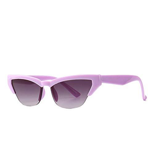 NIUASH Gafas de Sol polarizadas Gafas De Sol Ojo De Gato De Medio Marco De Color De Moda para Mujer Gafas De Sol Sin Montura De Calle Oculos De Sol-E