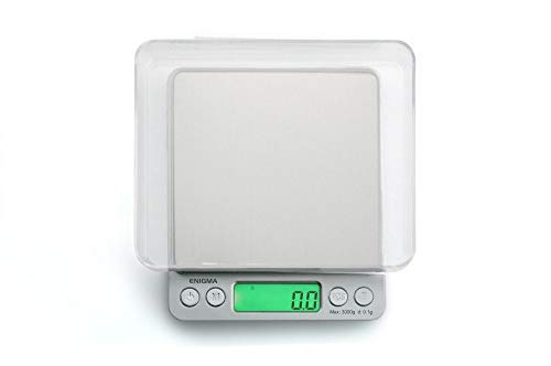 Truweigh ENIGMA Digital Scale (3000g x 0.1g - Silver) and Long Lasting Portable Grams Scale - Kitchen Scale - Food Scale - Postal Scale - Herb Scale - Pocket Scale - Small Scale
