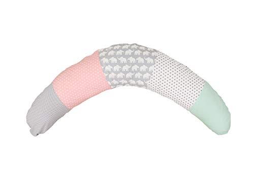 Cojín de lactancia de ULLENBOOM ® elefantes menta rosa (190x38cm; relleno: bolitas de fibra silenciosas; sirve también de cojín de apoyo, almohada para embarazadas, para dormir de lado)