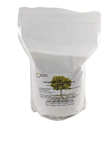 Potassium Chloride 0-0-62 Muriate of Potash 100% Water Soluble Fertilizer'Greenway Biotech Brand' 3 Pounds