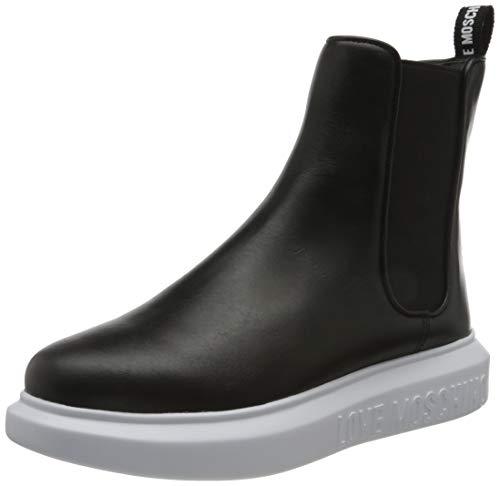 Love Moschino JA15504G0BJA, Chaussures en Cuir de Veau Femme, Noir, 41 EU