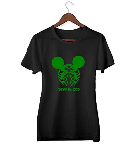 Starbucks Mickey Logo Mix_KK015690 Shirt T-Shirt Tshirt for Women Damen Gift for Her Present Birthday Christmas - Women's - Medium - Black