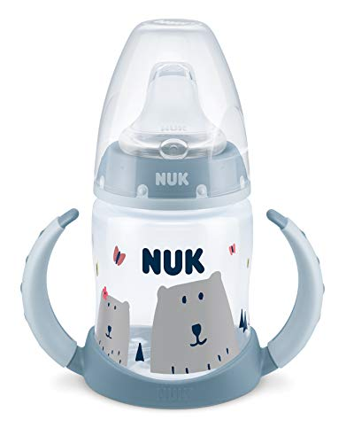 NUK 10215312 Hello Adventure First Choice - Biberón (150 ml, antigoteo, 6-18 meses), color azul