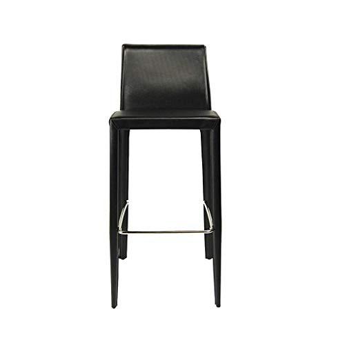 SXRDZ Luxusbar Sessel - mit Rückenlehne Hohe Stuhl Barhocker Haushalt Weiche Koffer Loft Chair Chrome Fußstütze Mode (Farbe: grau) (Color : Black)