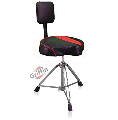 Saddle Drum Throne with Backrest Support by GRIFFIN | Padded Leather Drummer Motorcycle Biker Style Seat | Swivel Adjustable Height Music Drum...