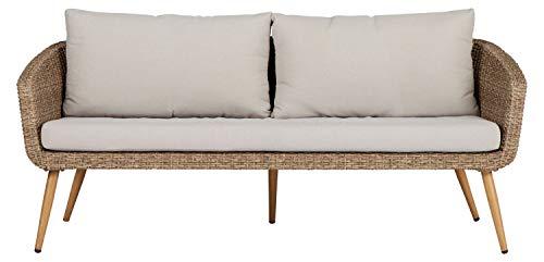 Outfit Polyrattan Gartensofa Skandinavische Outdoor-Couch mit wasserabweisenden Polstern und UV-resistentem Polyrattan für die Terrasse, den Garten oder das Wohnzimmer - handgemalte Holzmaserung