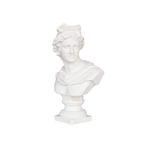 Escultura de Apolo Escultura, Dios Sol Griego Busto de Apolo Busto Estatua Resina Artesanía Decoración de Escritorio 18.5 * 8.5 * 29Cm