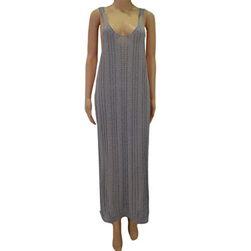 2020 zomer nieuwe explosie modellen sexy mode strand blouse zee lange gebreide jurk,XL