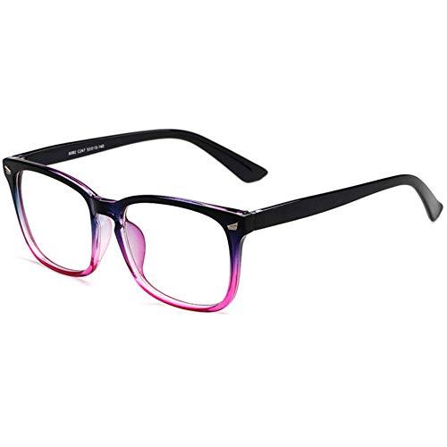 Twinkleyes Retro Nerdbrille Runde Brille Fensterglas Ohne Stärke Hornbrille Groß Damen Herren Brillenetui (Schwarz Rot)