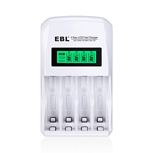 EBL LCD Smart Individual AA AAA Rechargeable Battery Charger for Ni-MH Ni-CD